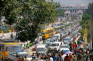 Vehicles queue for petrol as the nation undergoes oil and fuel crisis in Bhadrakali, Kathmandu on Wednesday. Photo:Skanda Gautam