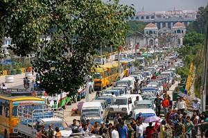 Vehicles queue for petrol as the nation undergoes oil and fuel crisis in Bhadrakali, Kathmandu on Wednesday. Photo:Skanda Gautam